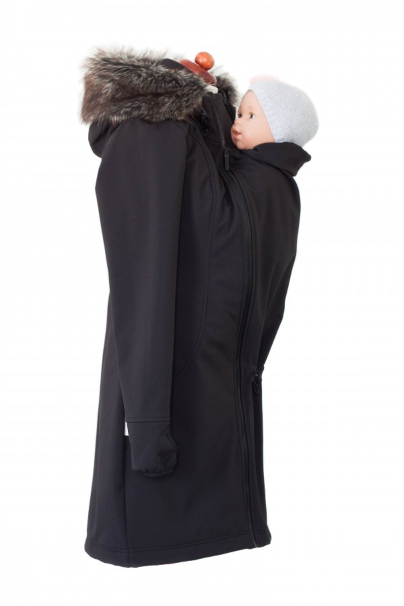 Angel Wings softshell coat met nepbont zwart mawaho.nl