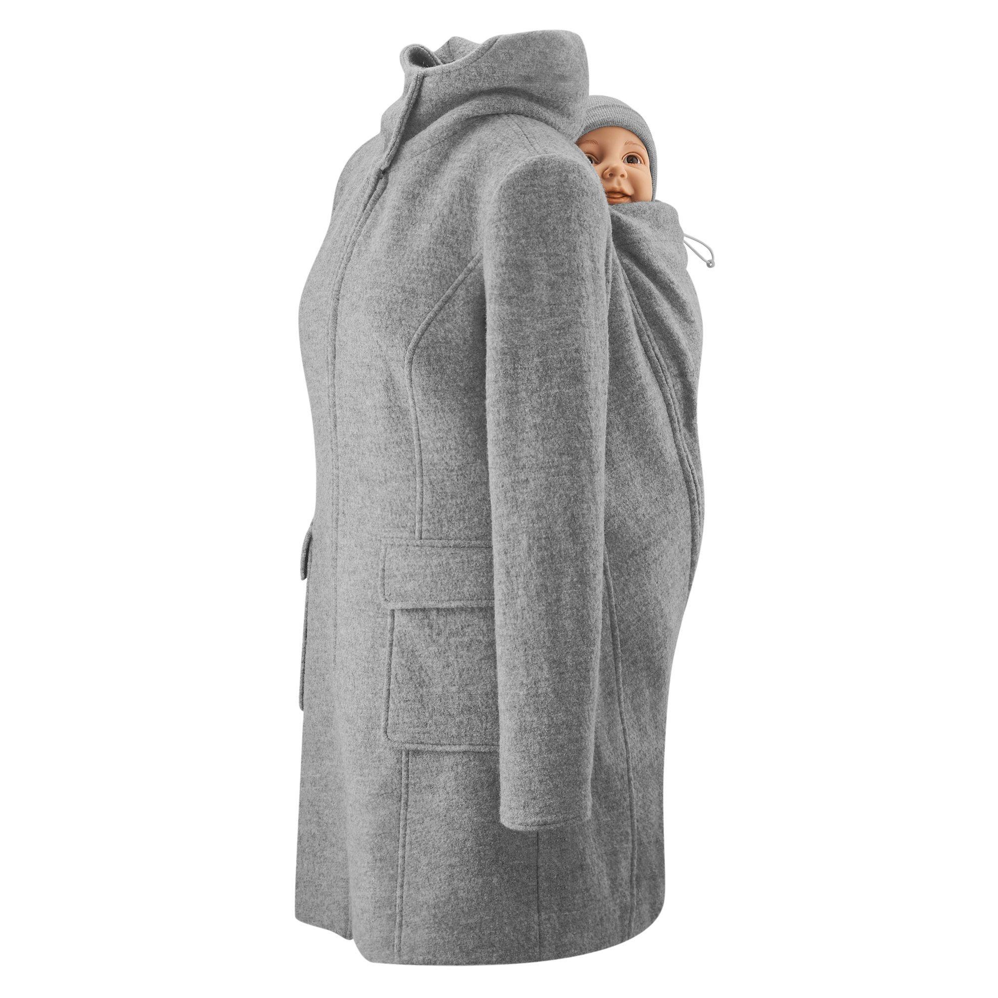 Mamalila Vienna Hooded wollen positie- en draagjas light grey mawaho.nl